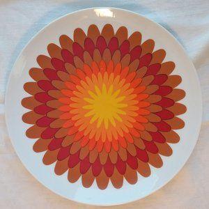 Retro Orange Red Yellow Floral Starburst Plate
